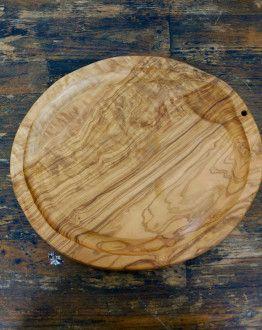Moderne, ovale olijfhouten vleesplank 32 x 28 x 2 cm