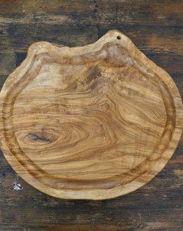 Rustieke, ronde olijfhouten vleesplank ca. 40 x 35 x 2,5 cm