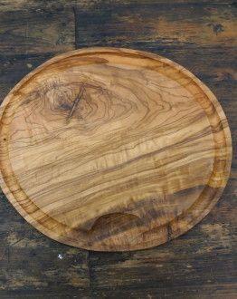 Ovale olijfhouten vleesplank ca 32 cm lang