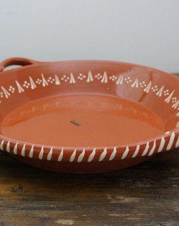 grote terracotta ronde schaal met oren 31238