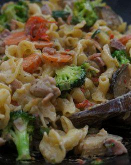 pasta kip met spekjes
