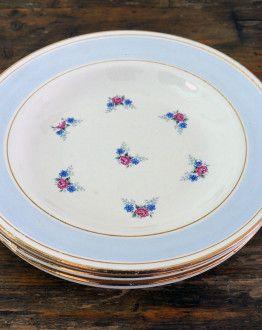 Vier diepe borden Poreylor Demi Porcelaine L'Amandinoise lichtblauwe rand met roosjes