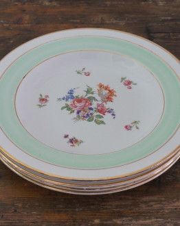 Vier diepe borden Poreylor Demi porcelaine L'Amandinoise met groene rand en bloemenmotief 01