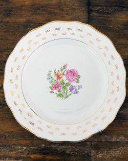 Vijf platte borden L'Amandinoise 1065 met bloemenmotief en gouden rand