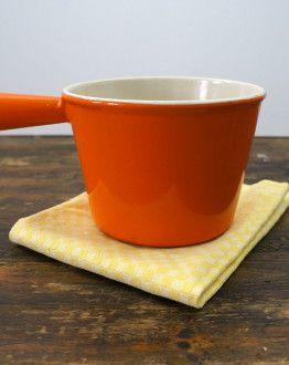 Oranje gietijzeren fonduepan Le Creuset