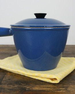 Blauw fondue pannetje steel deksel Le Creuset