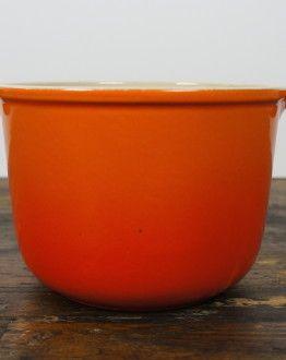 Enzo Mari Le Creuset fondue oranje zijkant