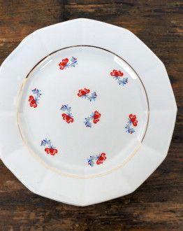5 ontbijtbordjes Porcelor Céranord France rood/blauw bloemetje