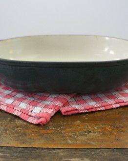 Zijkan Enzo Mari Le Creuset ovenschaal zeegroen gietijzer maat 29