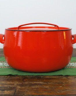 Seventies grote ronde pan met deksel rood zijkant
