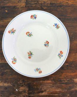 vijf ontbijtbordjes moulin des loups met bloemetjes