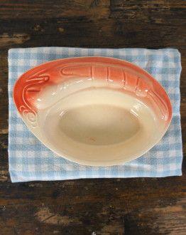 2 ovale bakjes met kreeftfiguurtjes (zalmroze) boven