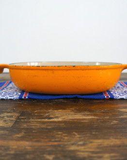 Oranje ovale ovenschaal Le Creuset 'Mama' maat 25 zij