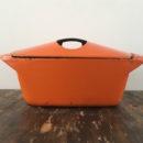 Oranje Le Creuset casserole Raymond Loewy